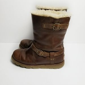 UGG Australia Leather Noira Boots In Brownstone
